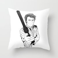 clint eastwood Throw Pillows featuring Magnum Force (Clint Eastwood by  Steve Wade ( Swade)