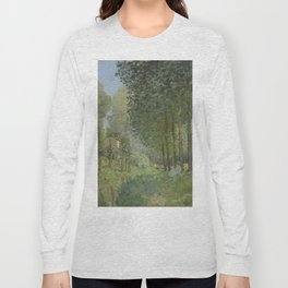 Alfred Sisley - Rest along the Stream. Edge of the Wood, 1878 Long Sleeve T-shirt
