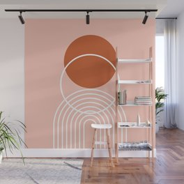 Geometric Lines in Terracotta Rose Gold 6 (Rainbow and Sun Abstract) Wall Mural