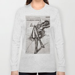 Brave - Charcoal on Newspaper Figure Drawing Long Sleeve T-shirt