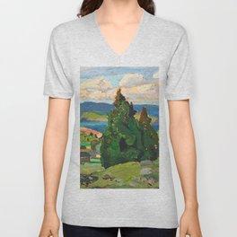 Canadian Landscape Franklin Carmichael Art Nouveau Post-Impressionism Unisex V-Neck
