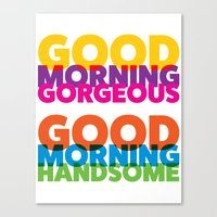 solid color Canvas Prints featuring Good Morning Solid Color by Pick Up Milk OLD