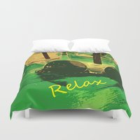 relax Duvet Covers featuring Relax by Geni
