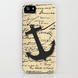Vintage gray retro nautical anchor marine paper iPhone Case