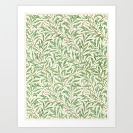 Vintage willow bough vintage illustration wall art print and poster design remix from the original artwork by William Morris. Art Print