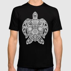Royal Sea Turtle - silver, black and white Mens Fitted Tee Black MEDIUM