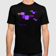 Happy Bird-Purple Black MEDIUM Mens Fitted Tee