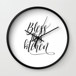 PRINTABLE ART, Bless This Kitchen, Kitchen Art Printable, Bless This Kitchen Art, Kitchen Quote Art Wall Clock