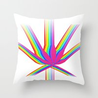 """cannabis Throw Pillows featuring Rainbow Cannabis by """"LSC"""""""