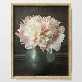 Single peony flower in a dark vase Serving Tray