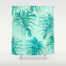 Paradise Palms Mint Shower Curtain