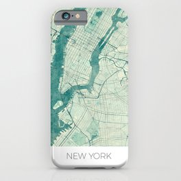 New York Map Blue Vintage iPhone Case