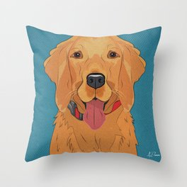 Icons of the Dog Park: Golden Retriever Design in Bold Colors for Pet Lovers Art Print Throw Pillow