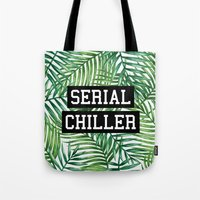 tupac Tote Bags featuring Serial Chiller by Text Guy