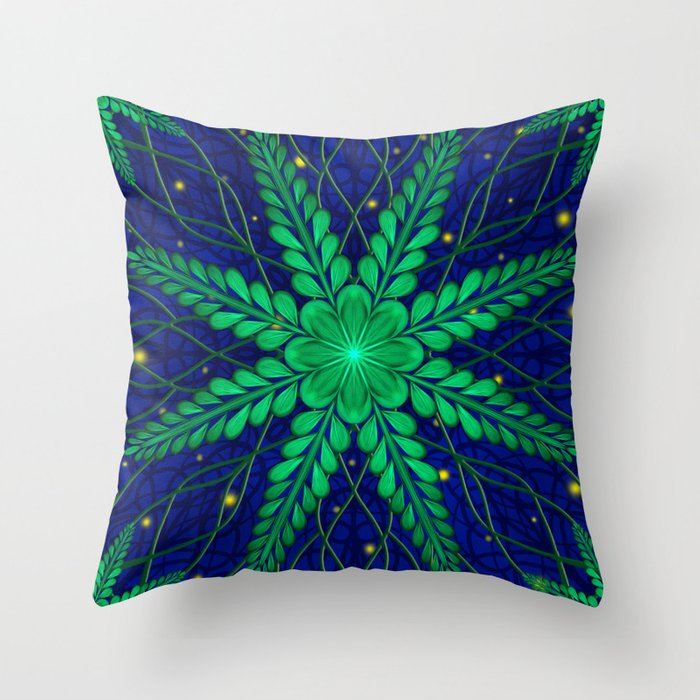 Web of Leaves and Light Throw Pillow