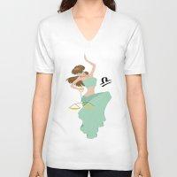 libra V-neck T-shirts featuring Libra by Rejdzy