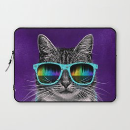 Cool Cat With Glasses & Headphones Laptop Sleeve