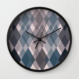 Confused Argyle in teal and rose - you might be drunk Wall Clock