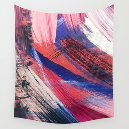 Los Angeles: A vibrant, abstract piece in reds and blues by Alyssa Hamilton Art Wall Tapestry