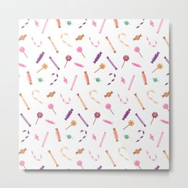 Candy colorful pattern on white Metal Print
