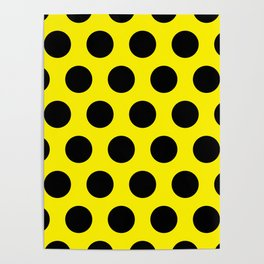 Black Circles on Yellow Background Poster