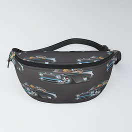 Classic hot rod fifties muscle car with cool couple cartoon Fanny Pack