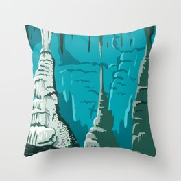 Carlsbad Caverns National Park in Guadalupe Mountains New Mexico United States WPA Poster Art Color Throw Pillow