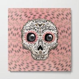 Pink & Gold Hearts Whimsical Sugar Skull Metal Print