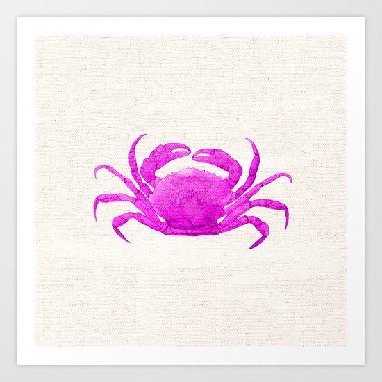 Nautical Pink Crab Linen Art Print
