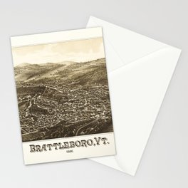 Aerial View of Brattleboro, Vermont (1886) Stationery Cards