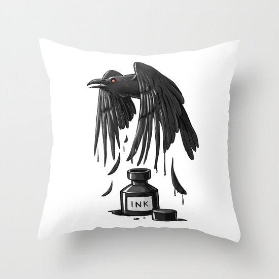 Ink Raven Throw Pillow