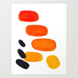 Mid Century Modern Colorful Minimal Pop Art Yellow Orange Ombre Rainbow Gradient Pebble Ovals Art Print