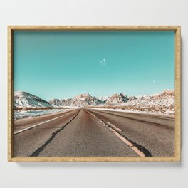 Vintage Desert Road // Winter in the Mojave of Las Vegas at Red Rock Canyon National Park Serving Tray