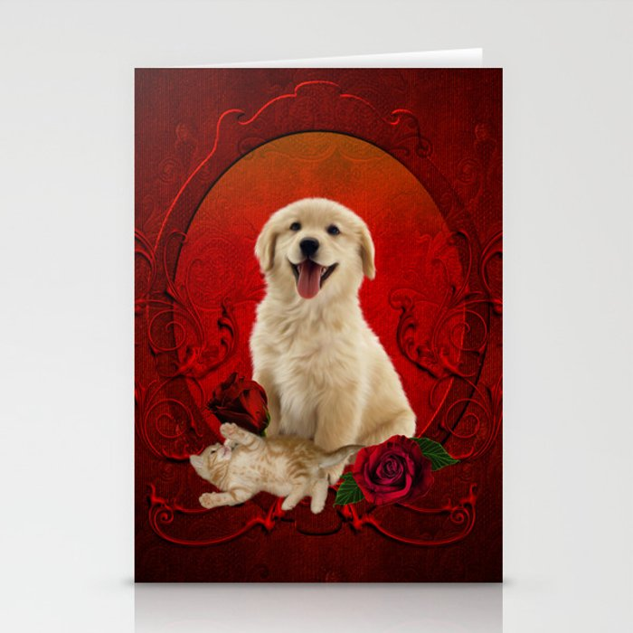Cute little kitten with dog Stationery Cards