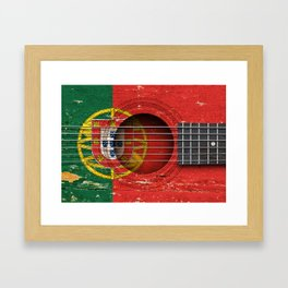 Old Vintage Acoustic Guitar with Portuguese Flag Framed Art Print