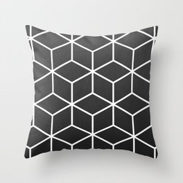 Charcoal and White - Geometric Textured Cube Design Throw Pillow