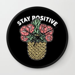 Stay Positive Floral Pineapple Wall Clock