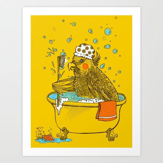 Bird Bath! Art Print