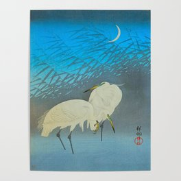 Ohara Shoson Egrets Japanese Woodblock Print Vintage Historical Japanese Art Poster