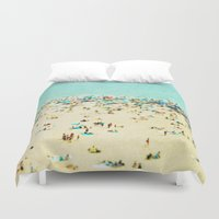 retro Duvet Covers featuring Coney Island Beach by Mina Teslaru