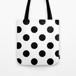 Large Polka Dots - Black on White Tote Bag
