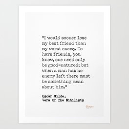 Oscar Wilde, Vera or The Nihilists, 5 Art Print