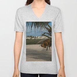 Coconut Tree Palm Tree Tropical Beach Landscape, Brazil Unisex V-Neck