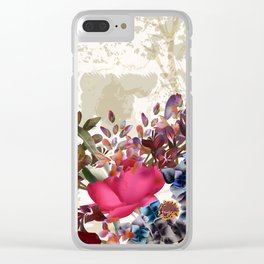 Vintage rose garden Clear iPhone Case