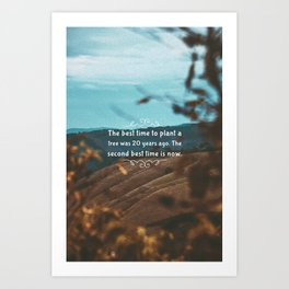 The best time to plant a tree was 20 years ago. The second best time is now. Art Print