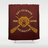 quidditch Shower Curtains featuring Gryffindor quidditch team iPhone 4 4s 5 5c, ipod, ipad, pillow case, tshirt and mugs by Three Second