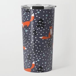 Red foxes in the nignt winter forest Travel Mug