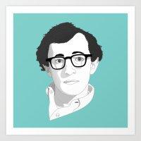 woody allen Art Prints featuring Woody Allen by Janko Illustration