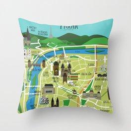 Prague map illustrated Throw Pillow