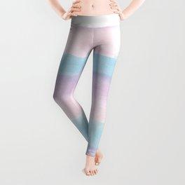 Modern blush pink teal color block watercolor brushstrokes stripes Leggings